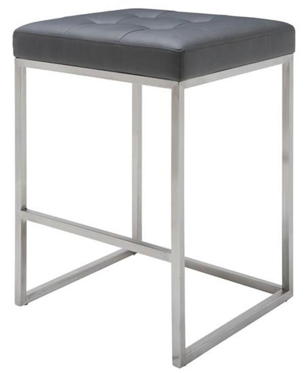 Nuevo Square Gray Leather Chi Counter Stool Nauga HGPA108