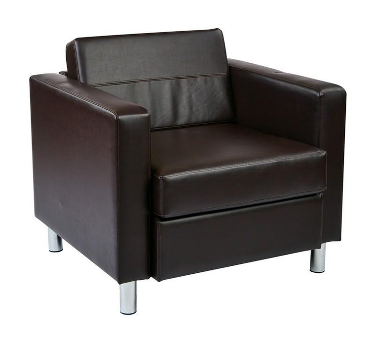 Office Star Pacific Easy Care Espresso Faux Leather Armchair PAC51-V34