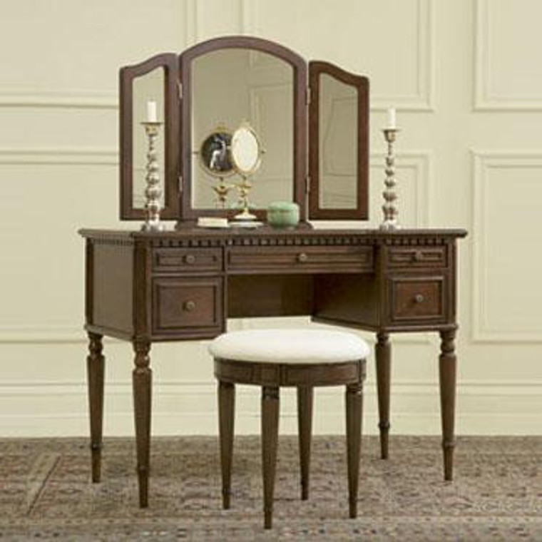 Warm Cherry Vanity With Mirror & Bench 429-290 by Powell