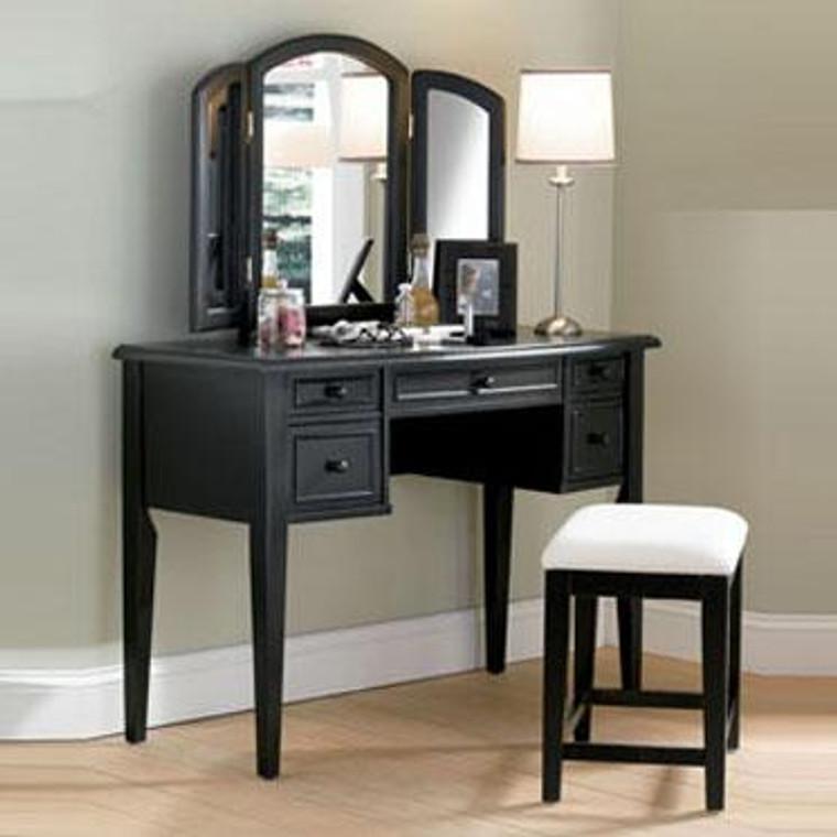 Powell 3-Piece Vanity, Mirror And Bench Set - Antique Black 502-290