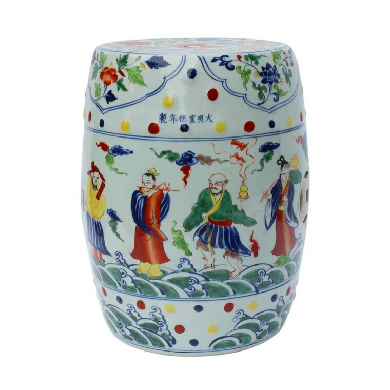 Multi-Colored Porcelain Garden Stool Eight Immortals 1402