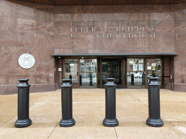 "10"" Black Pawn Decorative Bollard Covers at a courthouse entrance"