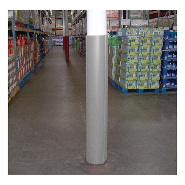 Gray round column wrap at grocery store