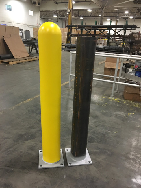 Base plated steel pipe bollard. With and without bollard cover.