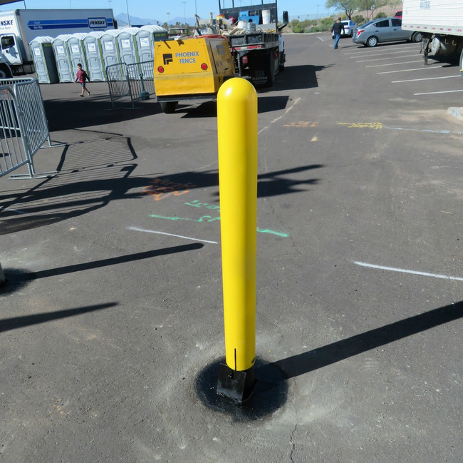 Removable Bollard with yellow Bollard Cover
