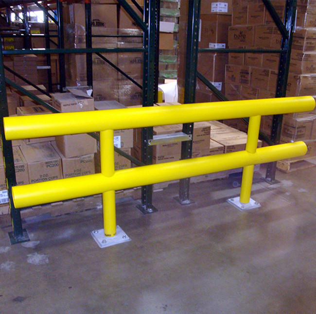 Two Line Standard Guardrail Pallet Rack Protection