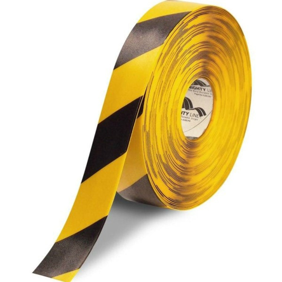"""2"""" Yellow floor tape with black diagonal striping"""