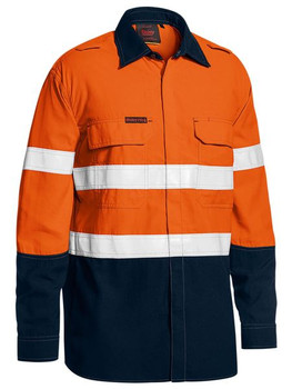 TENCATE TECASAFE® PLUS 480 TAPED TWO TONE HI VIS LIGHTWEIGHT FR VENTED SHIRT - LONG SLEEVE BS8237T