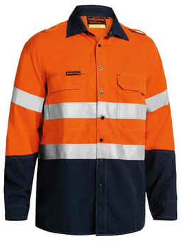 TENCATE TECASAFE® PLUS 580 TAPED TWO TONE HI VIS LIGHTWEIGHT FR VENTED LONG SLEEVE SHIRT BS8098T