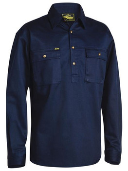 CLOSED FRONT COTTON DRILL SHIRT - LONG SLEEVE BSC6433