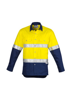 ZW123  MENS HI VIS SPLICED INDUSTRIAL SHIRT - HOOP TAPED
