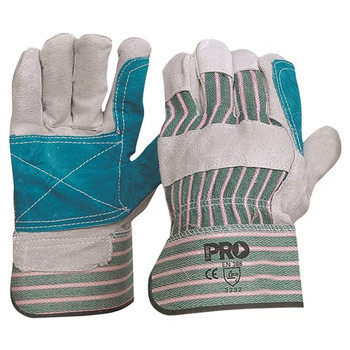 ProChoice® Green & Grey Striped Cotton / Leather Gloves Large R88FG  pk 12