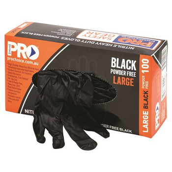 ProChoice® Disposable Nitrile Powder Free, Heavy Duty, Black Gloves MDNPFHD