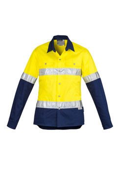 ZWL123  WOMENS HI VIS SPLICED INDUSTRIAL SHIRT - HOOP TAPED