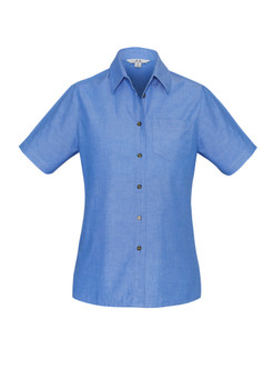LADIES WRINKLE FREE CHAMBRAY SHORT SLEEVE SHIRT LB6200
