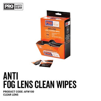 Pro Choice Safety Gear Anti-Fog Lens Wipes 100 Pack AFW100