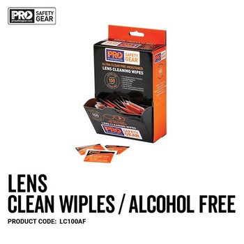 Pro Choice Safety Gear Lens Cleaning Wipe - Alcohol Free 100 Pack LC100AF