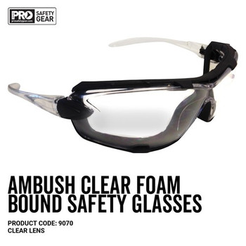 Pro Choice Safety Gear Ambush Foam Bound Spec / Goggle Clear Lens 9070 12pk