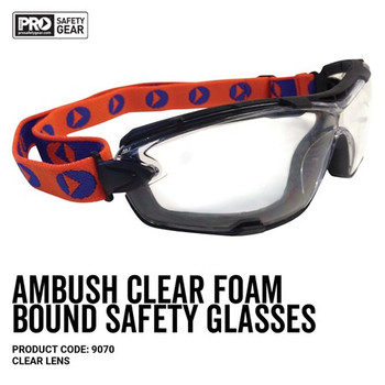 Pro Choice Safety Gear Ambush Foam Bound Spec / Goggle Clear Lens 9070 12pk