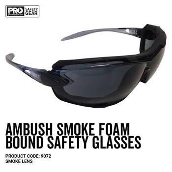 Pro Choice Safety Gear Ambush Foam Bound Spec / Goggle Smoke Lens 9072 12pk