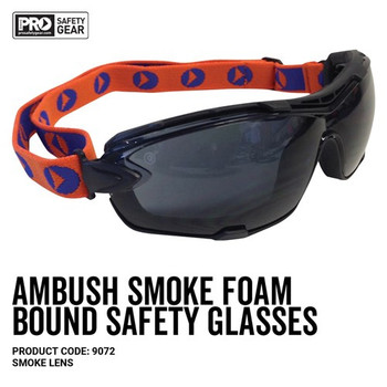Pro Choice Safety Gear Ambush Foam Bound Spec / Goggle Smoke Lens 9072 12pk