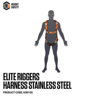 LINQ Elite Riggers Harness Stainless Steel - Standard (M - L) cw Harness Bag (NBHAR) H301SS