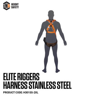 LINQ Elite Riggers Harness Stainless Steel - Maxi (XL-2XL) cw Harness Bag H301SS-2XL (NBHAR)