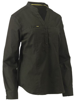 Womens Stretch V-Neck Closed Front Shirt BLC6063