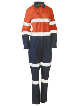Womens Taped Hi Vis Cotton Drill Coverall BCL6066T