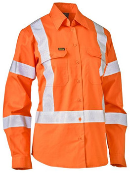 Womens Taped X Back Lightweight Hi Vis Drill Shirt BL6166XT