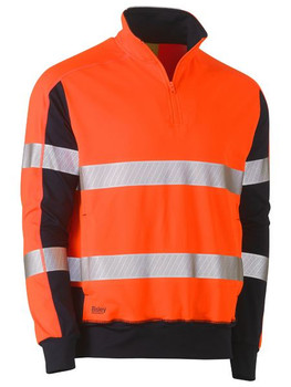Taped Hi Vis Stretchy Fleece Zip Pullover BK6817T