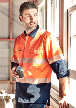 Mens Rugged Cooling Hi Vis Segmented Tape L/S Shirt ZW229