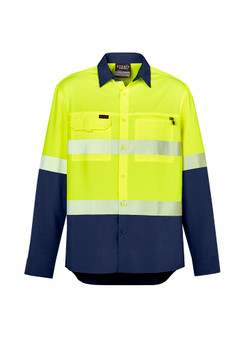Mens Hi Vis Outdoor Segmented Tape L/S Shirt ZW470
