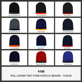 Roll Down Two Tone Acrylic Beanie - Toque HW 4188