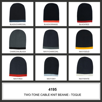 Two Tone Cable Knit Beanie - Toque HW 4195