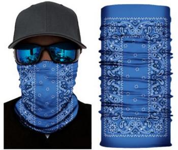 Simba Bandana face mask Neck Gaiter Rectangle Paisley Blue S158