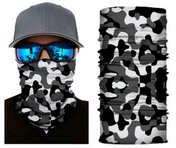 Simba Bandana face mask Neck Gaiter Camo White/Grey/Black S82