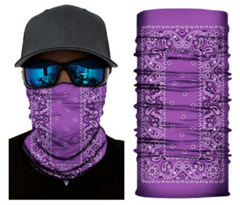 Simba Bandana face mask Neck Gaiter Rectangle Paisley Purple S156