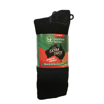 Bamboo Textiles Aussie Extra Thick Socks Unisex 3 Pack - Black