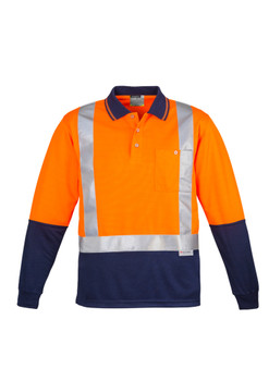 ZH234  MENS HI VIS SPLICED POLO - LONG SLEEVE SHOULDER TAPED