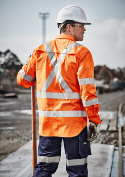 ZW690  MENS HI VIS X BACK TAPED SHIRT
