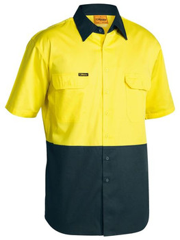 2 TONE COOL LIGHTWEIGHT DRILL SHIRT - SHORT SLEEVE  BS1895