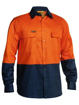 2 TONE HI VIS DRILL SHIRT - LONG SLEEVE BS6267