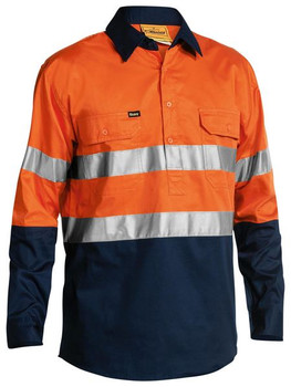 2 TONE HI VIS COOL LIGHTWEIGHT CLOSED FRONT SHIRT 3M REFLECTIVE TAPE - LONG SLEEVE BSC6896
