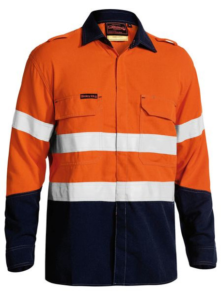 TENCATE TECASAFE® PLUS TAPED TWO TONE HI VIS FR NON VENTED SHIRT - LONG SLEEVE BS8198T