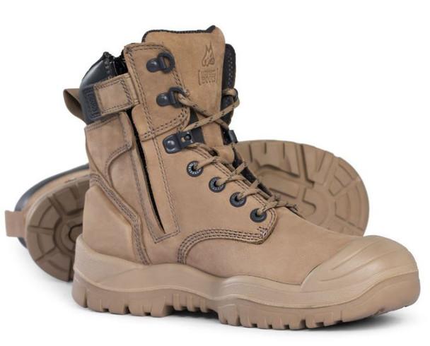 Mongrel - Stone High Leg Rubber Zip Side Safety Boot-561060