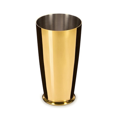 LEOPOLD GOLD-PLATED LARGE WEIGHTED SHAKER SHAKING TIN 28OZ