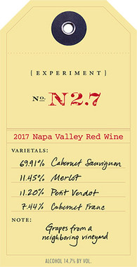 """OVID 2017 PROPRIETARY RED """"EXPERIMENT N2.7"""" NAPA VALLEY 750mL"""