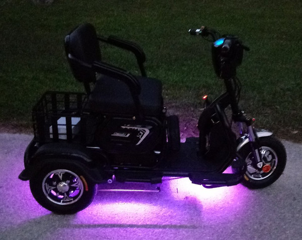Add remote control multi color ground effect lighting for free. Included on all SLS-500 scooters.