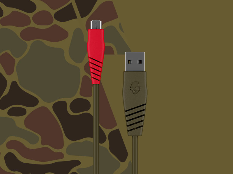 USB-A to Micro USB Skullcandy Line Round Charging Cable Camo